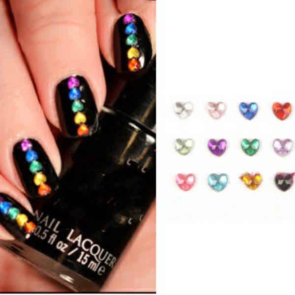 Cute Nail Designs – 12 colors Heart Shaped Rhinestone Cute Nail ...