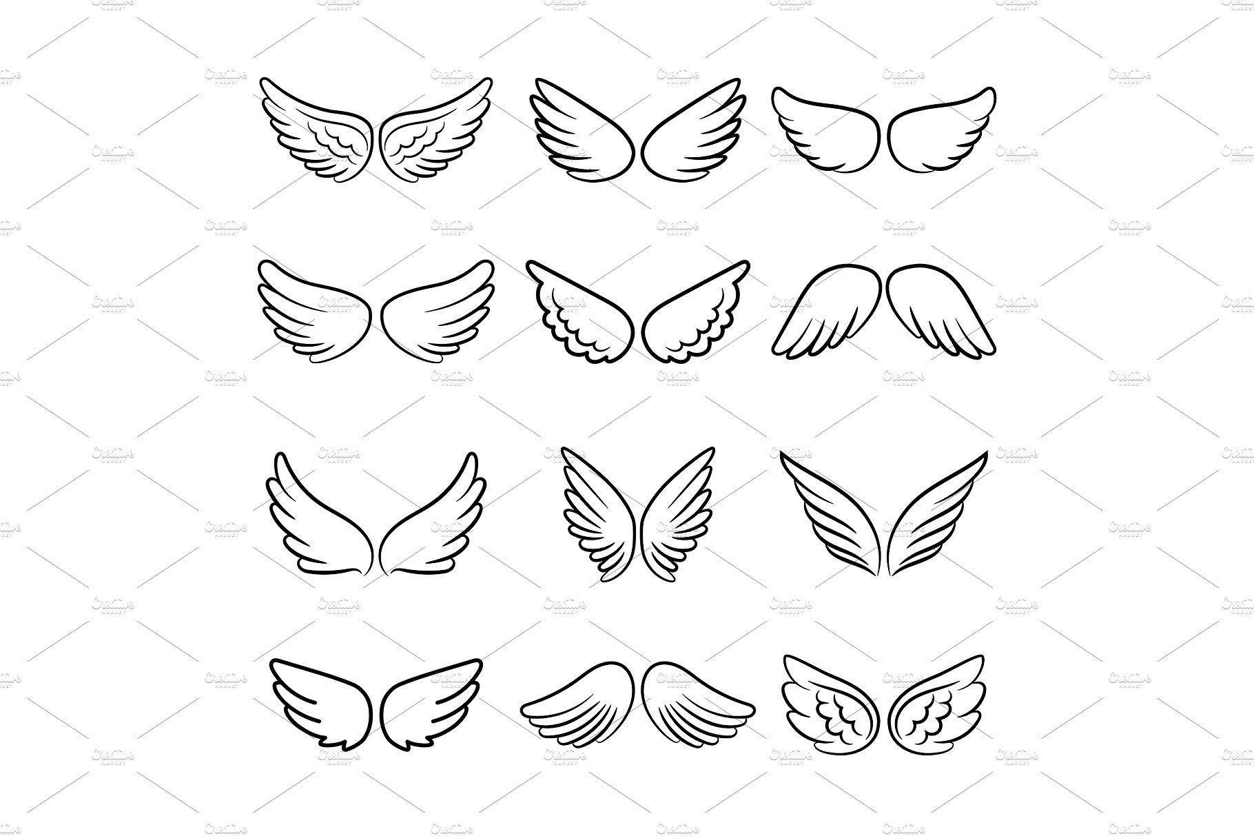 Niedliche Engelsflügel gesetzt # Flügel # Engel # isoliert # gesetzt