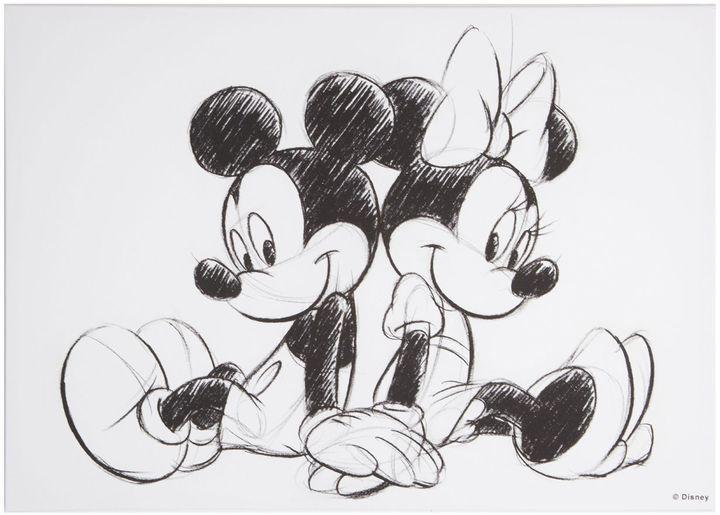 Disney Frozen Retro mickey & minnie sketch canvas