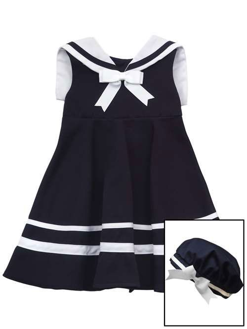 A Rare Editions sleeveless girls sailor dress and hat set is too cute to  pass up! The traditional favorite of parents all over this girls sailor  dress is ... 7921aaa8a16