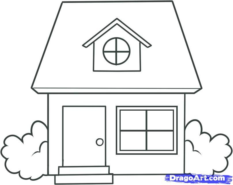 How To Draw A House House Drawing For Kids Simple House Drawing Easy Drawings