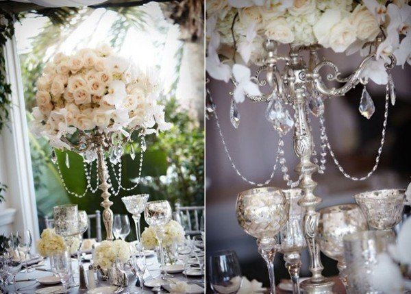Flower Centerpieces With Hanging Crystals Wedding Blogwedding Ideaswedding