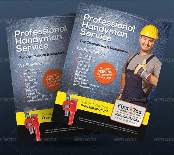Free  Premium Handyman Flyer Mockups  Psd Design Templates