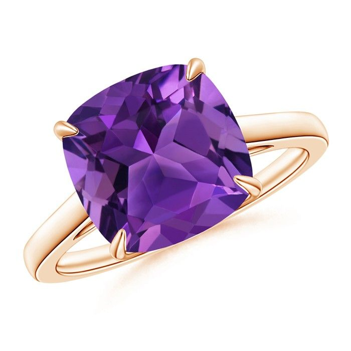 Angara Cocktail Ring with Cushion Amethyst and Diamond in Rose Gold pUvLwjjlb