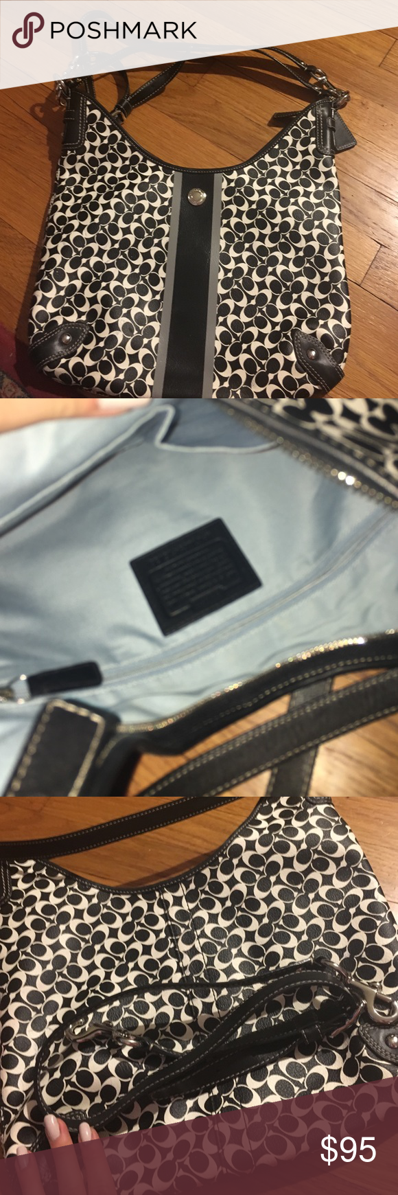 Coach black and white printed large shoulder bag Hardly used black and white C print coach bag, turquoise interior, removable strap Coach Bags Shoulder Bags
