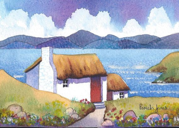 Original Watercolour Connemara Cottage by Pamelajonesartstudio, £20.00