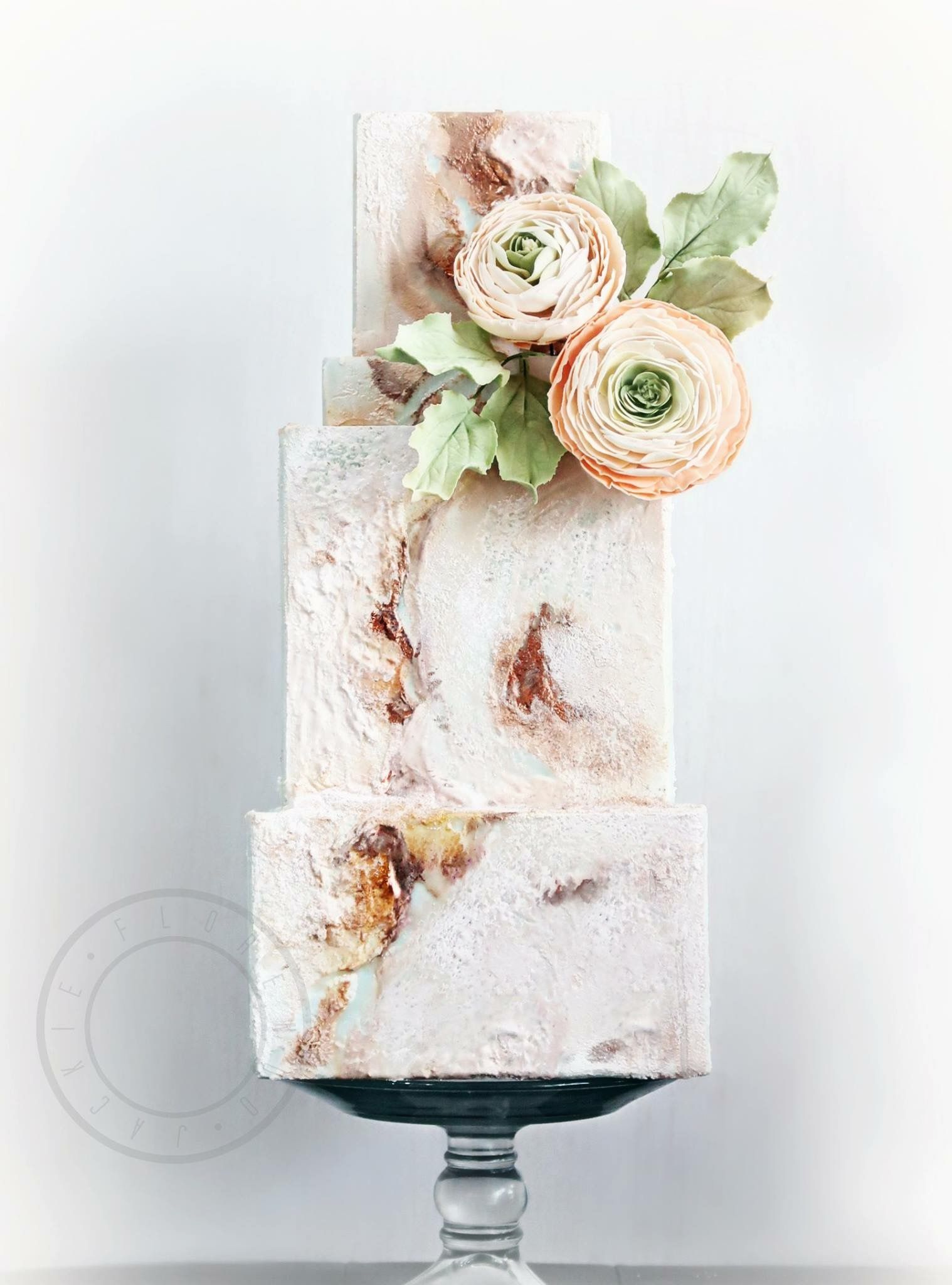 Honed Marble Fondant With Gumpaste Flowers Ranunculus Modern And Elegant Wedding Cakes B Wedding Cake Marble Wedding Cake Pictures Wedding Cakes With Flowers