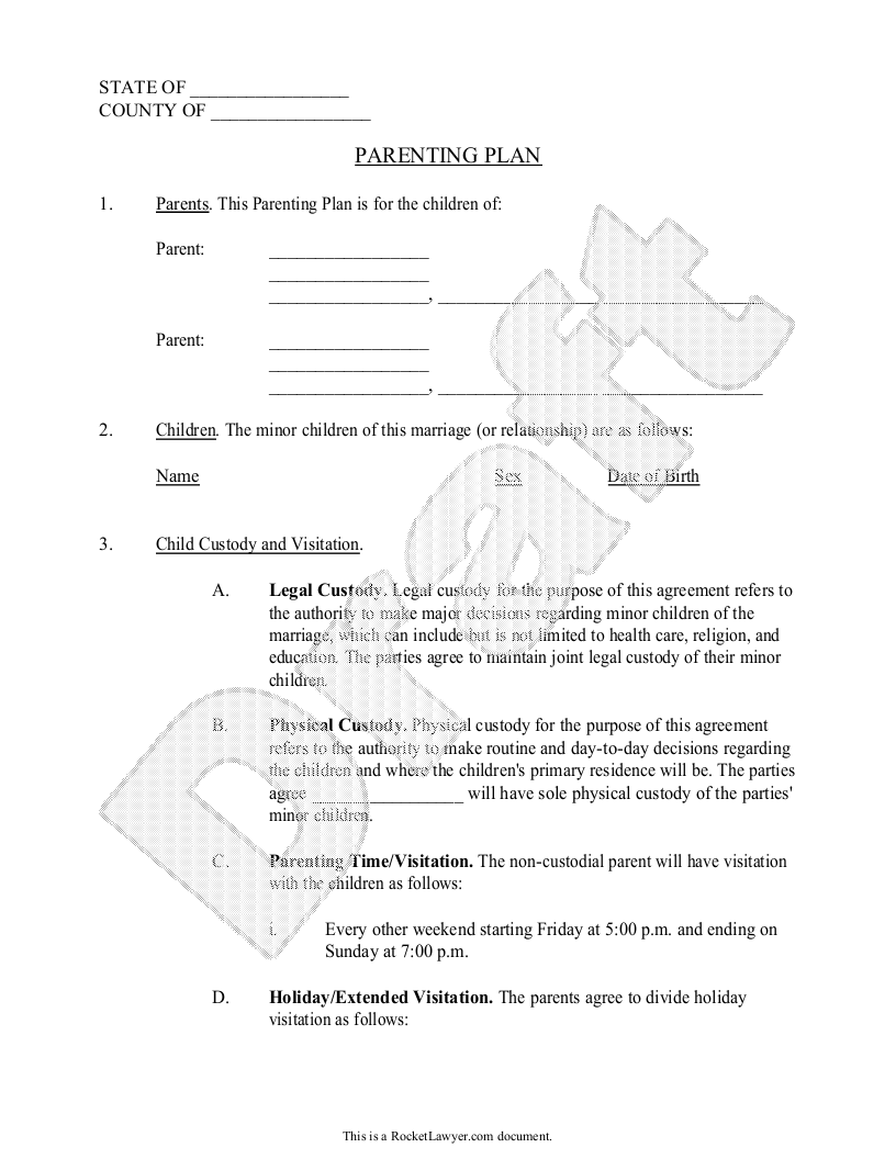 Parenting plan child custody agreement template with for Shared parenting plan template