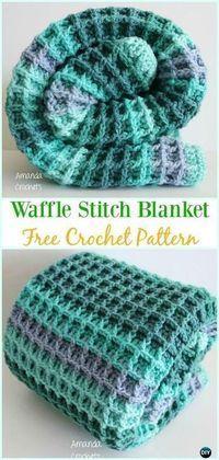 Waffle Stitch Blanket Pattern #crochetstitchespatterns