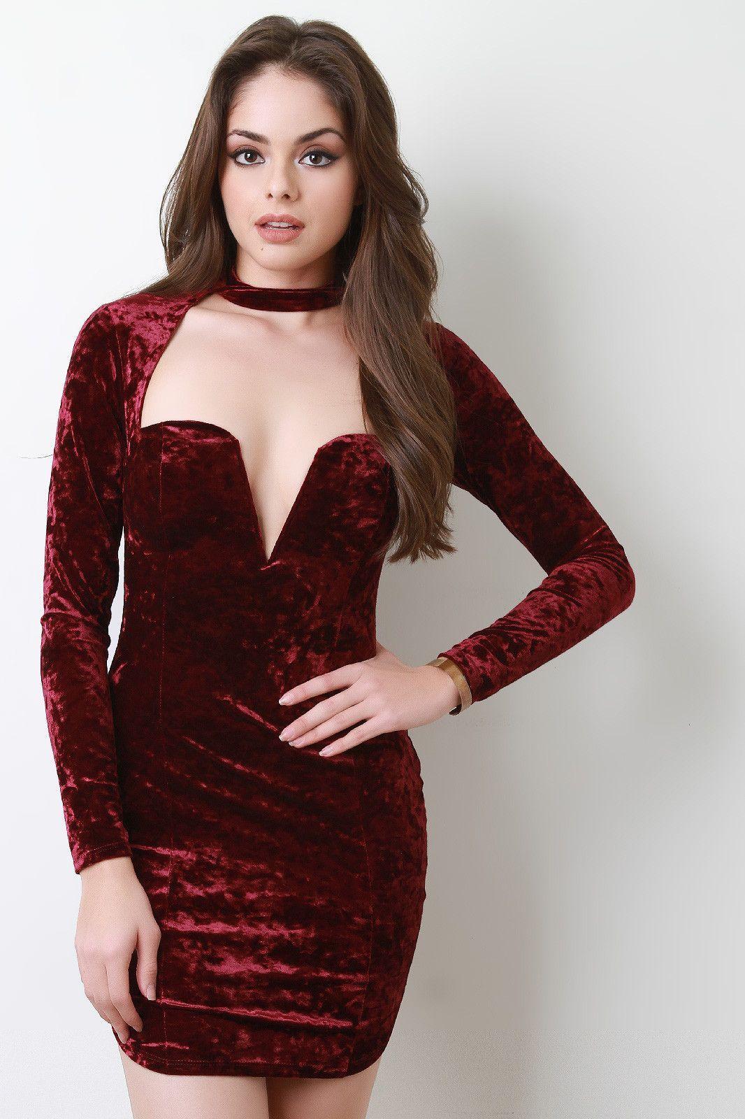 Crushed velvet open chest wired neck long sleeves mini dress