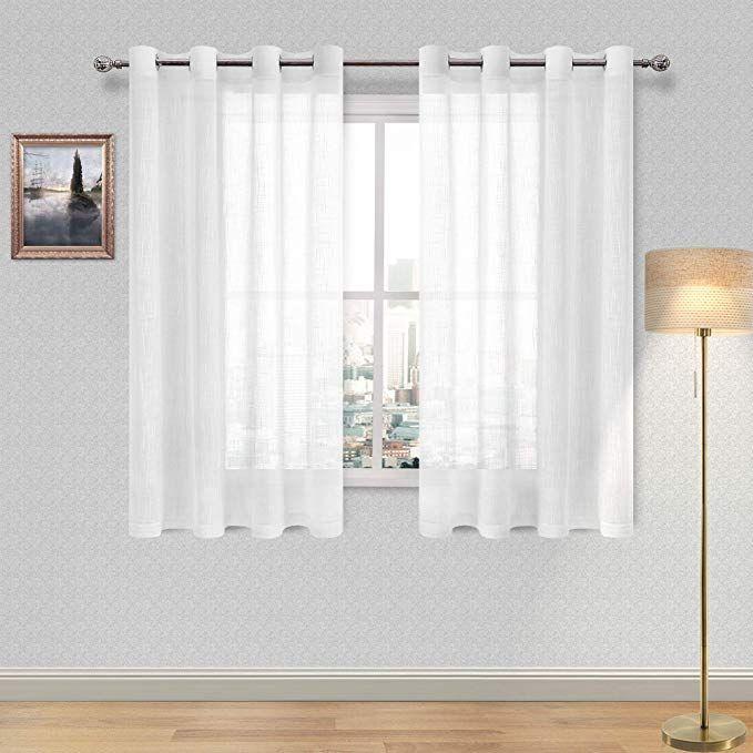 Dwcn White Faux Linen Sheer Curtains Window Grommet Voile