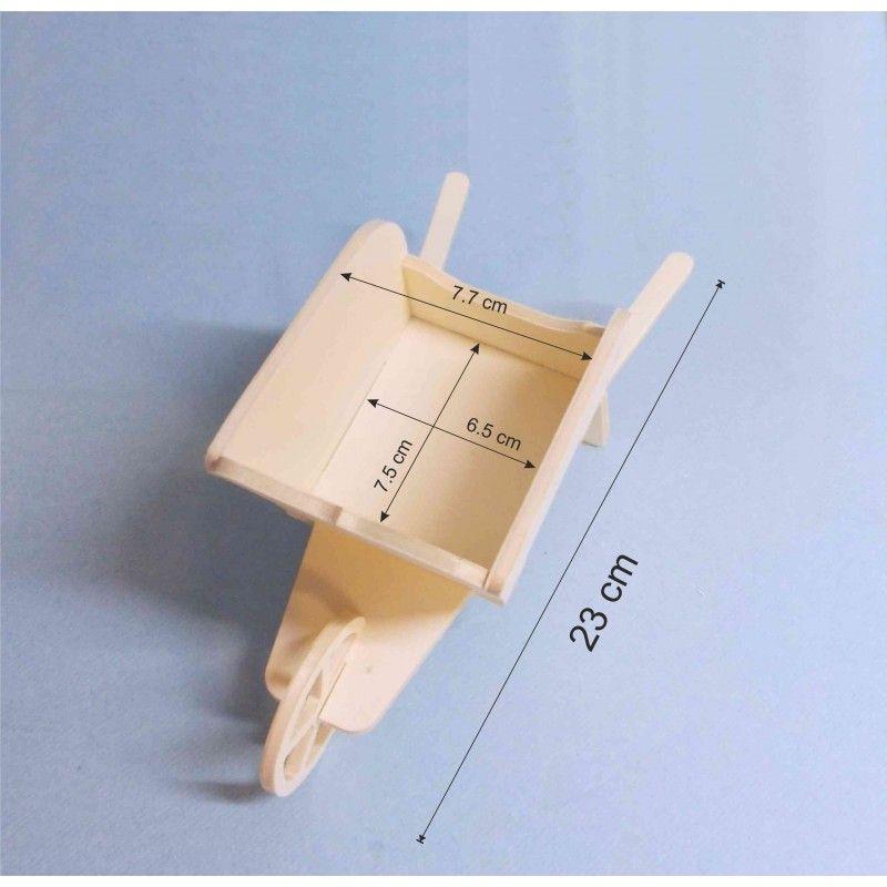 brouette miniature 23 cm en bois, assemblée et collée, à peindre