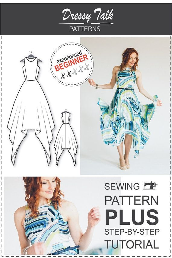 PRODUCT DESCRIPTION: PDF sewing pattern of an elegant dress with an ...