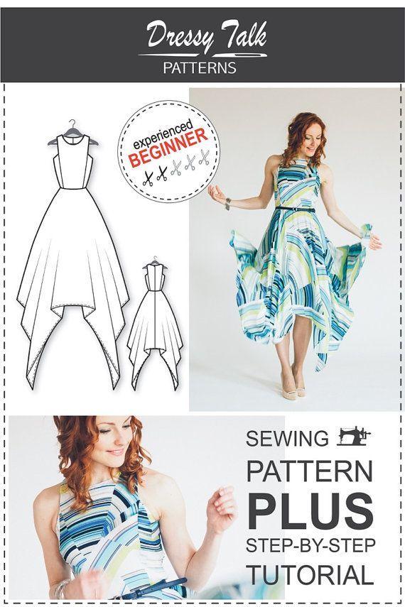 Asymmetrical maxi dress pattern