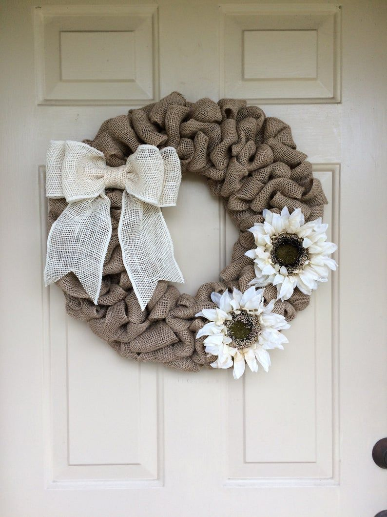 Photo of Burlap and Sunflower Wreath in 6 color schemes, Farmhouse Decor, Country Decor, Rustic Decor,