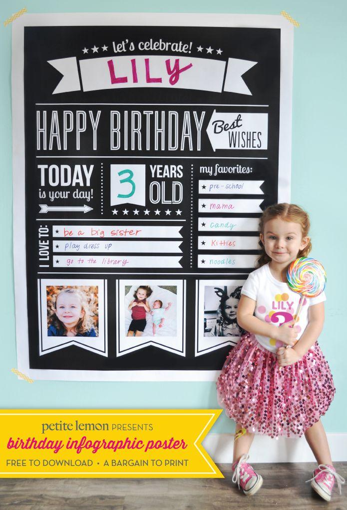 free birthday infographic poster partaaaaay pinterest birthday
