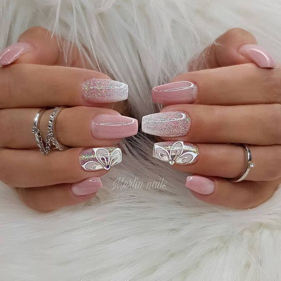 54 Unique And Beautiful 3d Nail Designs To Try Now With Images Pink Nails Bridal Nails Nail Designs Glitter