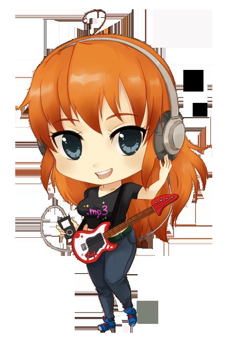 Kawaii Menina Ruiva Rockeira Png Fofa Chibi Personagens Chibi