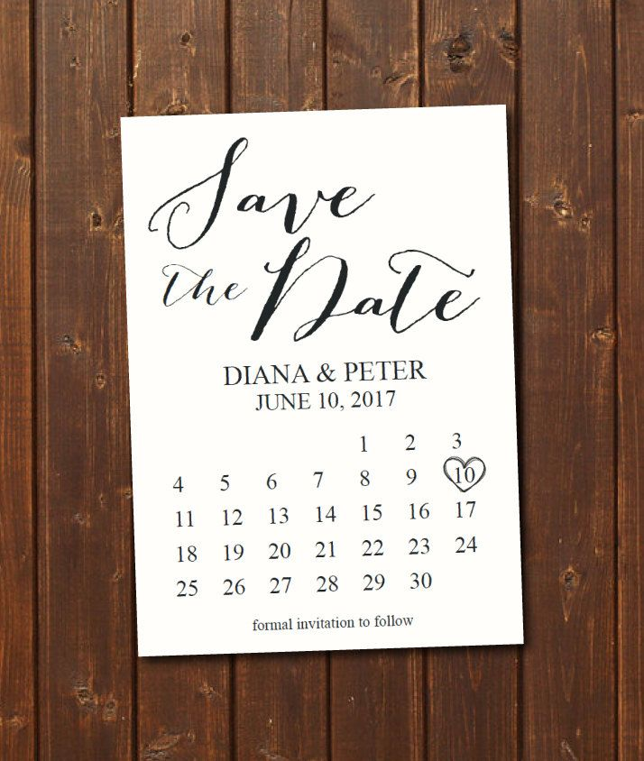 Printable Save The Date Calendar Postcard Template Instant Announcement Wedding Digital Black White Diy By Blesseddaypaper