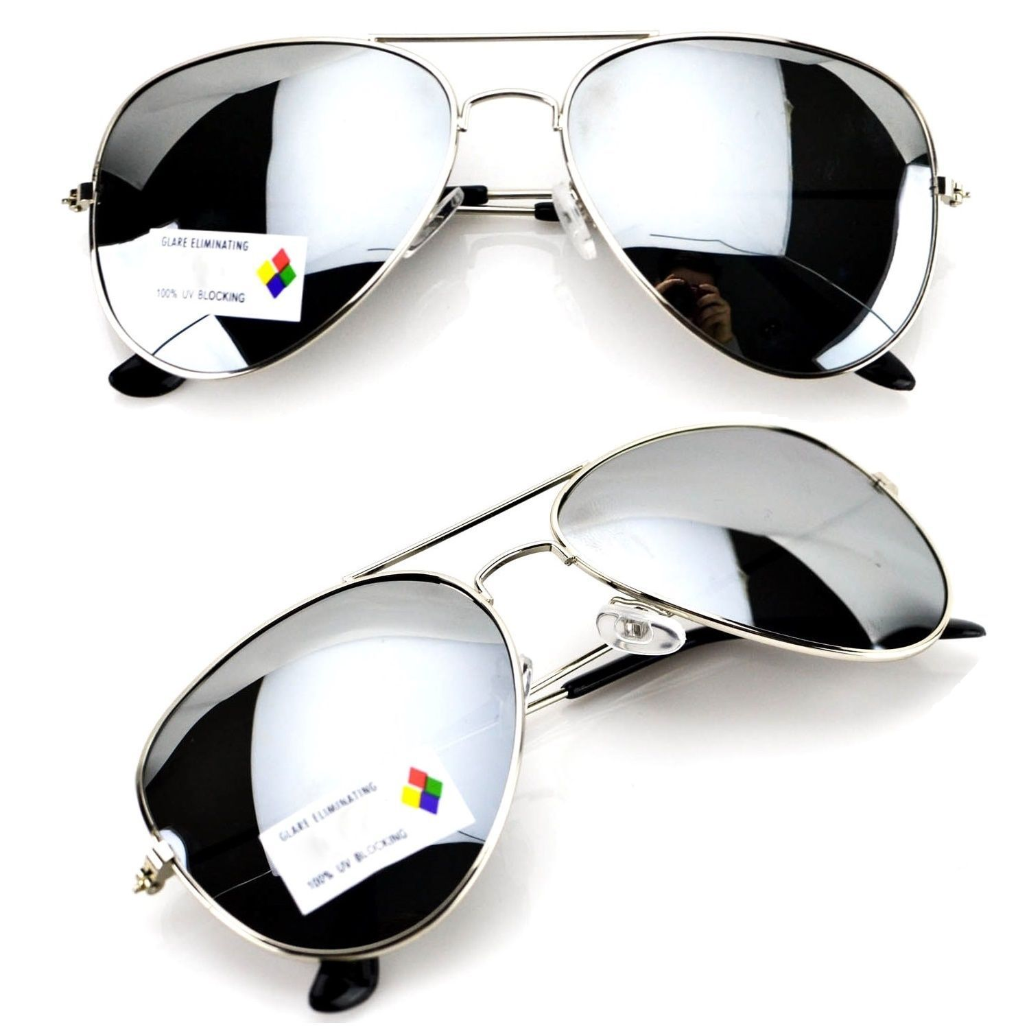 948a87fa8 Aviator Sunglasses Vintage Mirror Lens Mens Women Fashion Frame Retro Silver