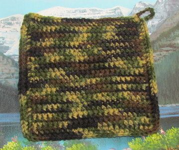 Hand crochet double thick hot pad approx size is 8 by 8 by LandLCandlesandCraft on Etsy