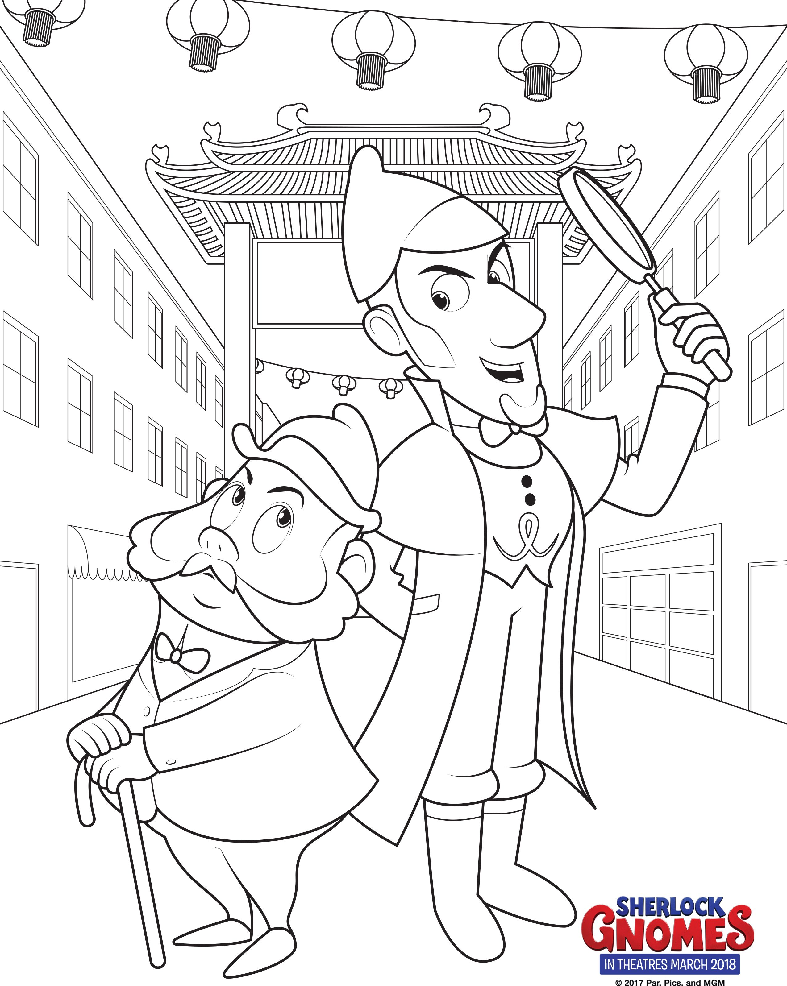 Sherlock Gnomes Coloring Pages Books Cartoon Coloring Pages