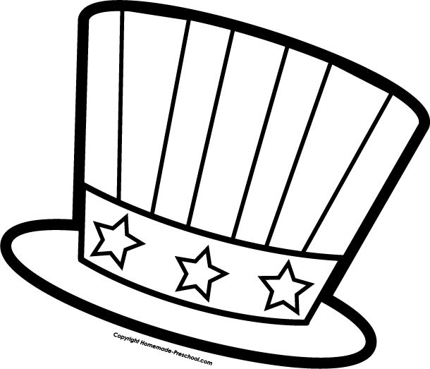 July fourth hat coloring page for