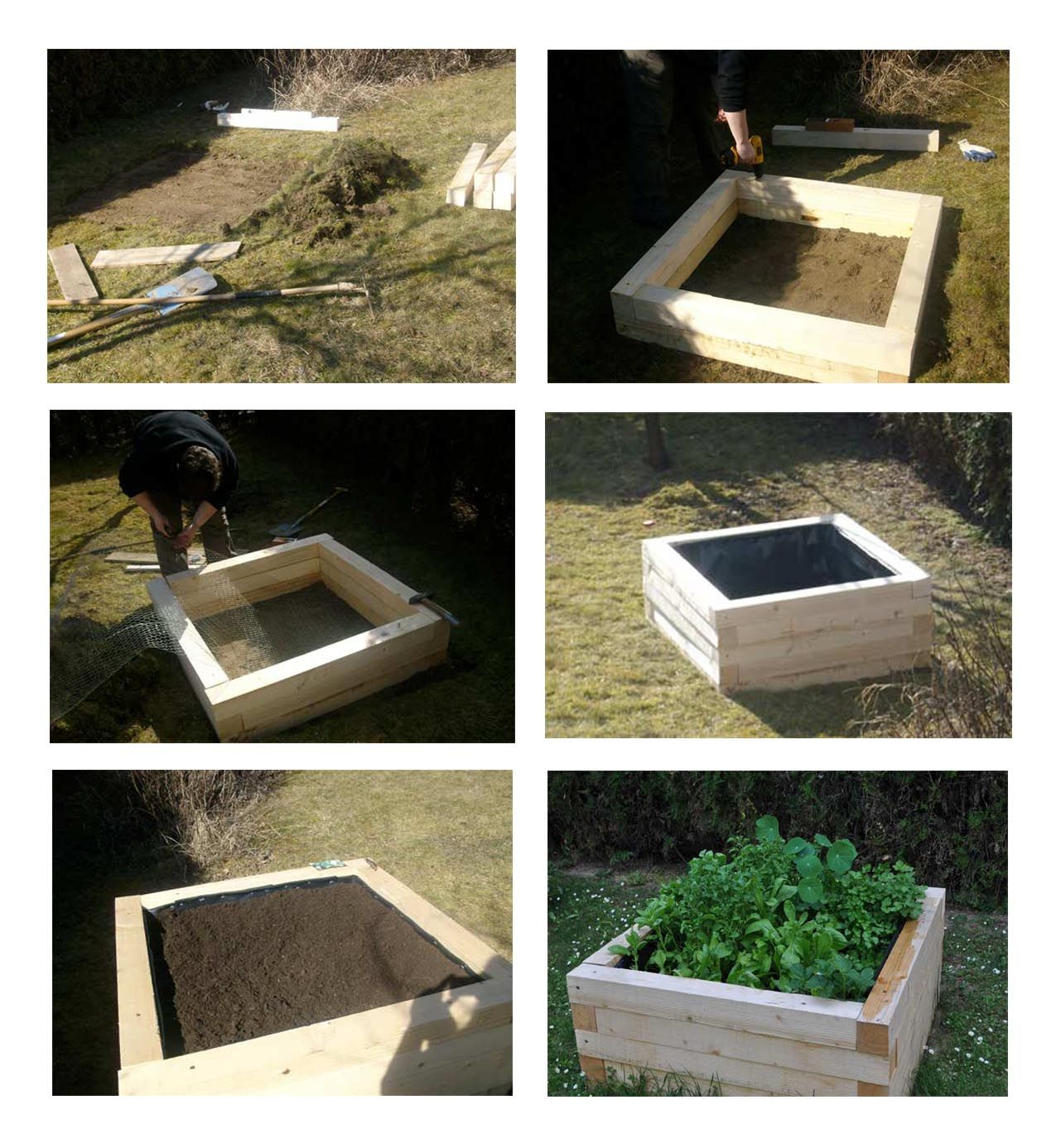 Raised Bed Diy Lined With Wire Mesh On The Bottom And Heavy