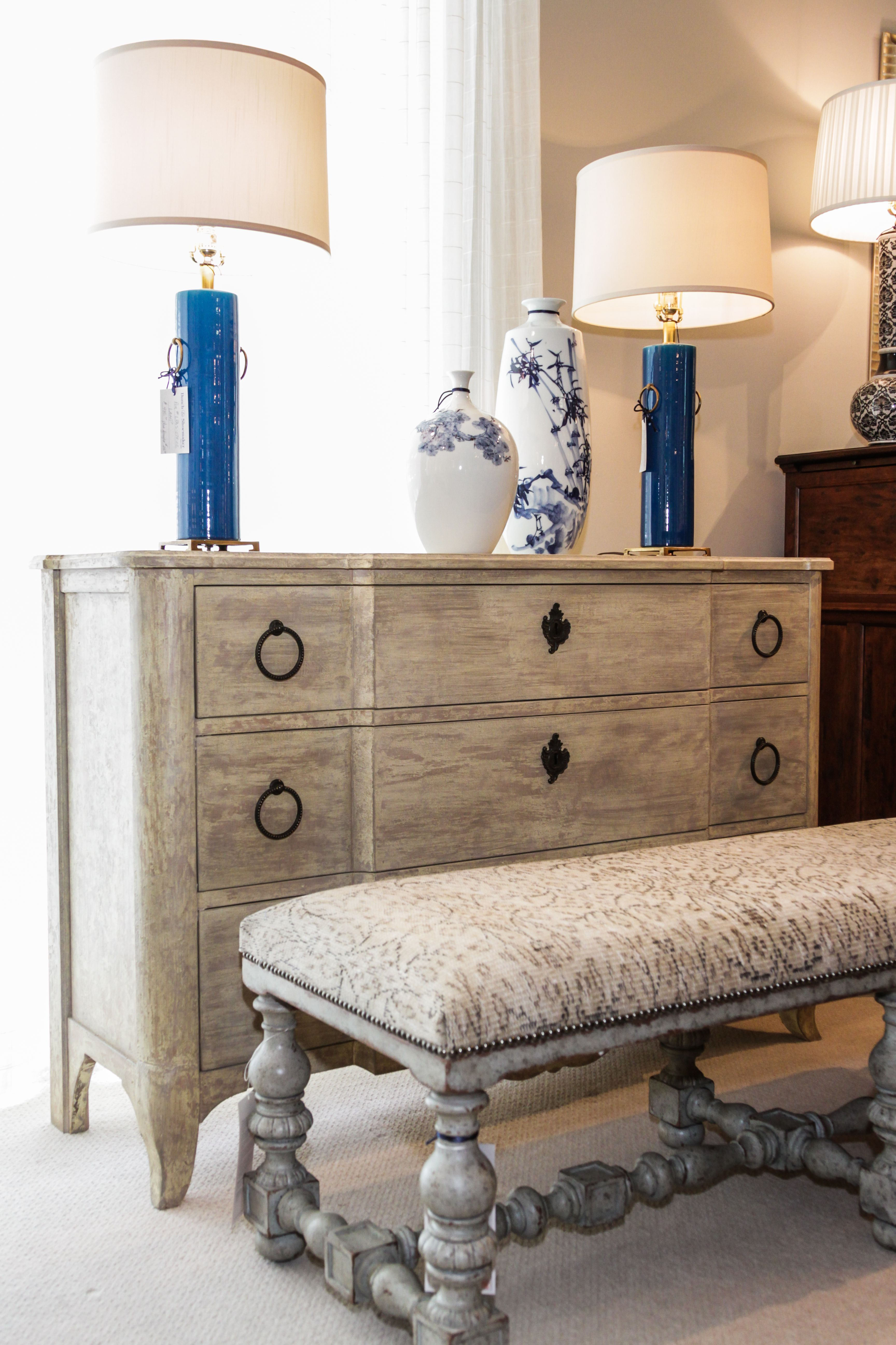Love this setup! Rustic Hickory White chest with Theodore