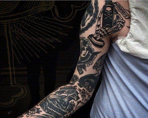 Full Arm Black White Tattoo Black And Grey Tattoos Grey Tattoo Traditional Tattoo Black And Grey