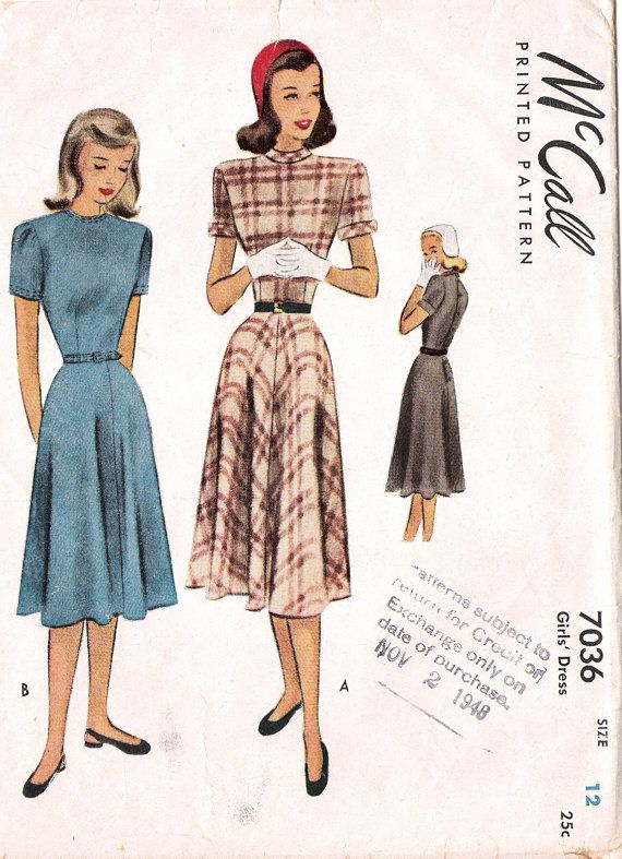 Vintage McCall Sewing Pattern 7036 1940s Swing Dress Size 12 | Moda ...