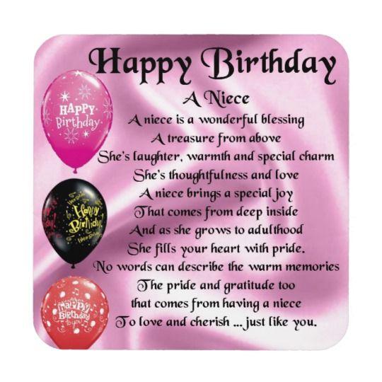 Niece Poem Happy Birthday Coaster Zazzlecom Heureux