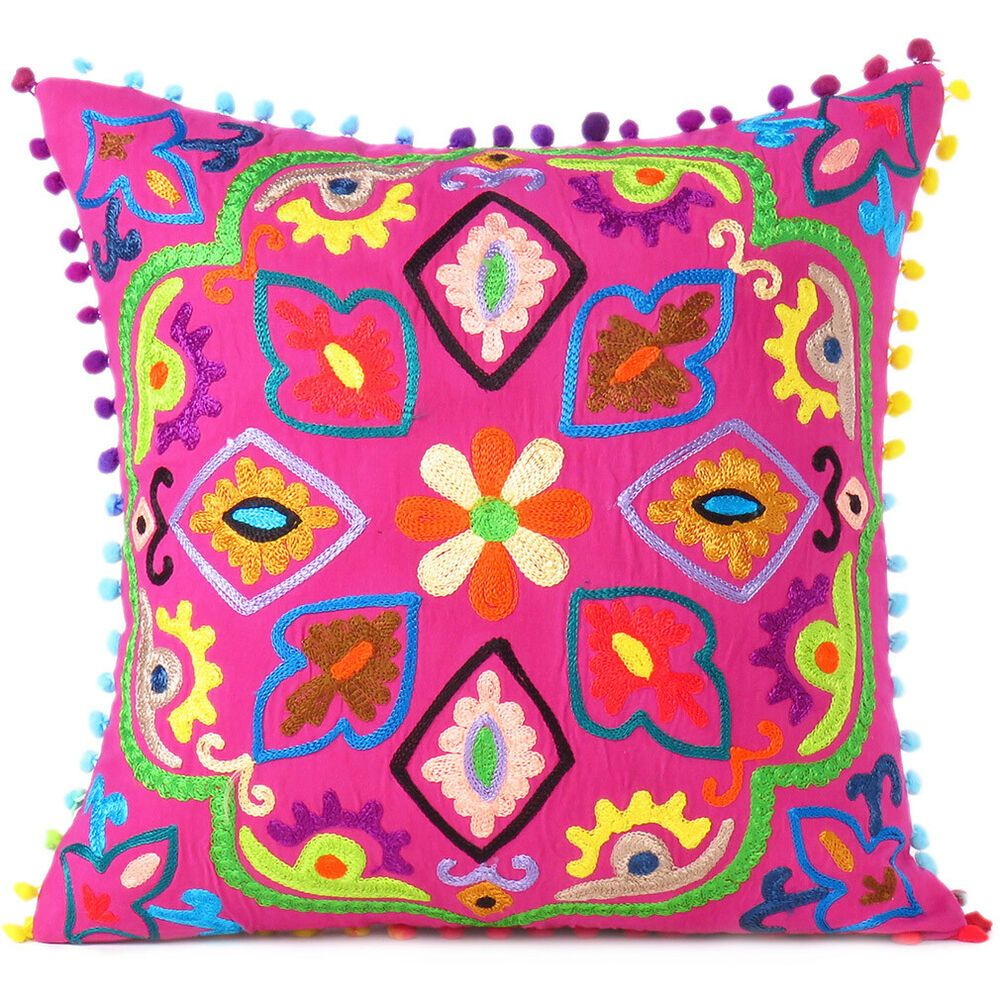 Vibrant With Colors This Pillow Features Dazzling Embroidered Patterns On High Quality Cotton Backsid Colorful Throw Pillows Throw Pillows Boho Throw Pillows