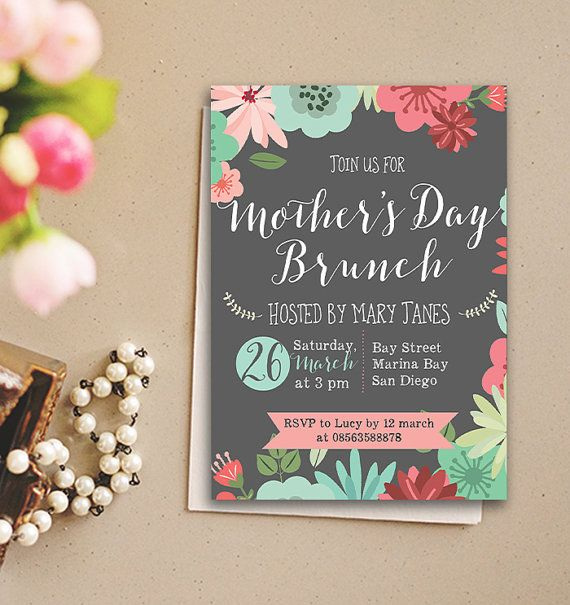mother's day brunch invitation bridal shower by behappyprintable, Einladung