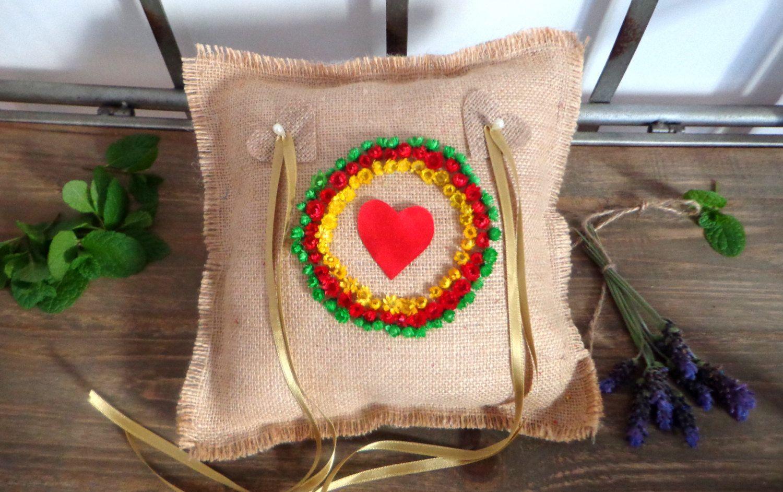 Hippie Ring bearer pillow, burlap lace ring bearer pillow, wedding ...