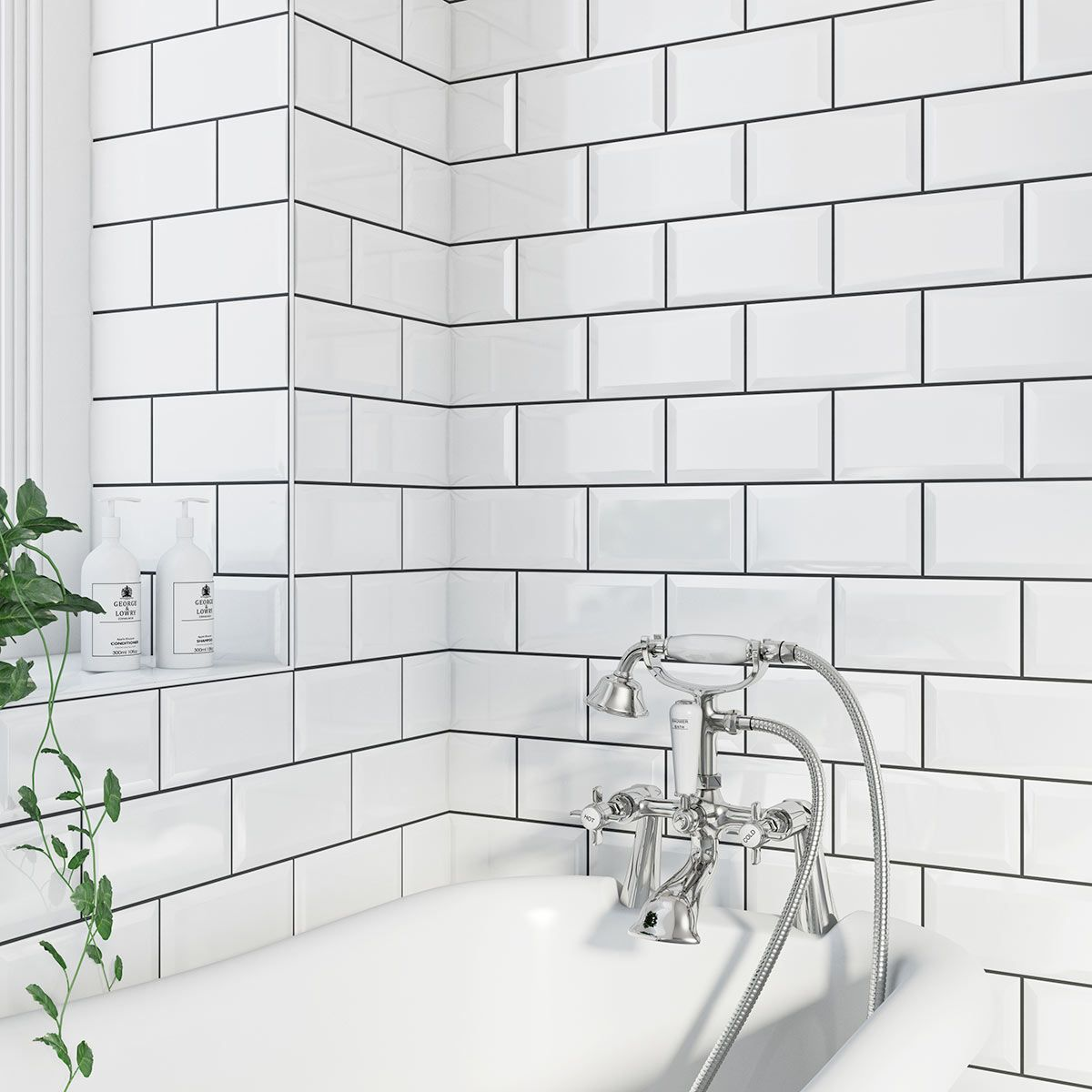 British Ceramic Tile Metro Bevel White Gloss Tile 100mm X 200mm. Tile  BathroomsBathroom WallCheap ... Part 91