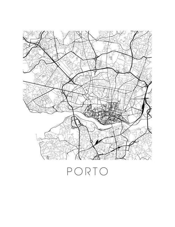 Porto Map Black And White Print Portugal Black And White Map Print