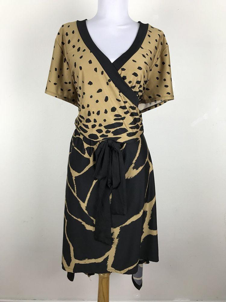 b4f599401a7 Ashley Stewart Dress Plus Size 22 24 Animal Print Faux Wrap Style Black  Brown  AshleyStewart