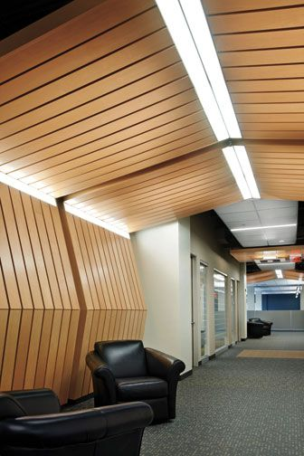 Armstrong - Integrated ceiling and wall system    Integrated ceiling and wall system available for 10 wood, metal, and mineral-fiber product lines by Armstrong, 877-276-7876; armstrong.com.