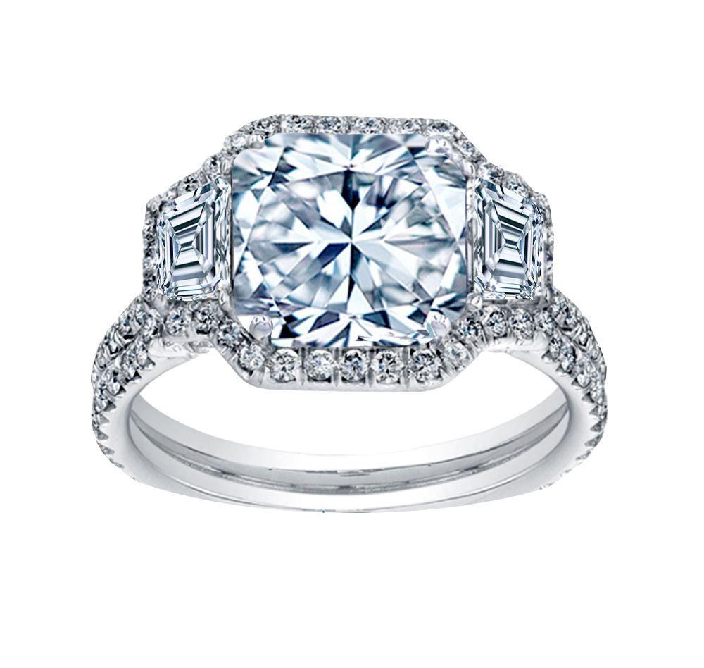 Bhjewelers carat radiant cut diamond halo engagement ring