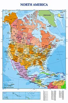 Wall Map of North America Poster USA Canada Mexico Caribbean