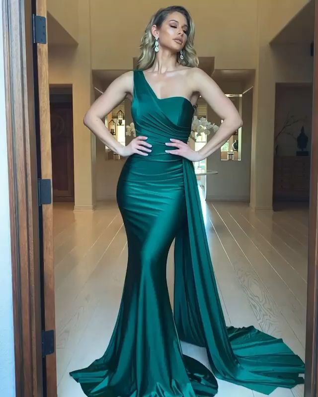 Sexy Mermaid One Shoulder Green Long Prom/Evening Dress Sweep Train