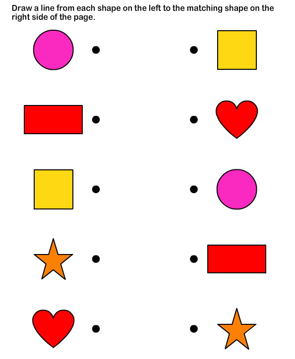 Shapes math Worksheets preschool Worksheets Math – Preschool Matching Worksheets