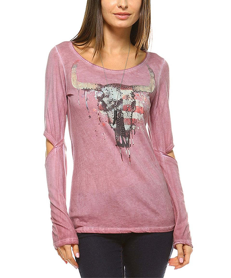 Take a look at this Urban X Dusty Rose Embellished Longhorn Cutout Tee today!