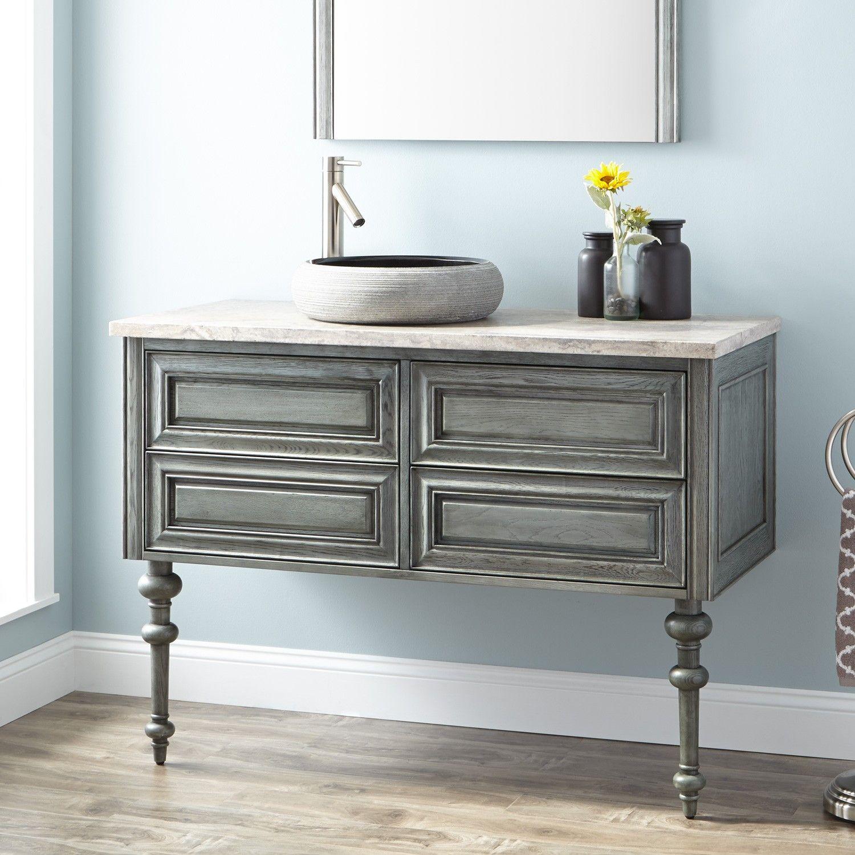 """48"""" fania wall-mount vessel sink vanity - gray wash   vanity sink, vessel sink vanity, vanity"""