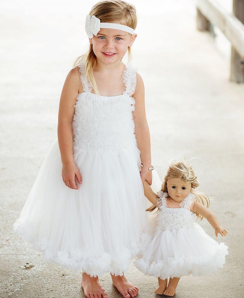 Ruffle butts petti dress solid chiffon ivory wedding party girls m