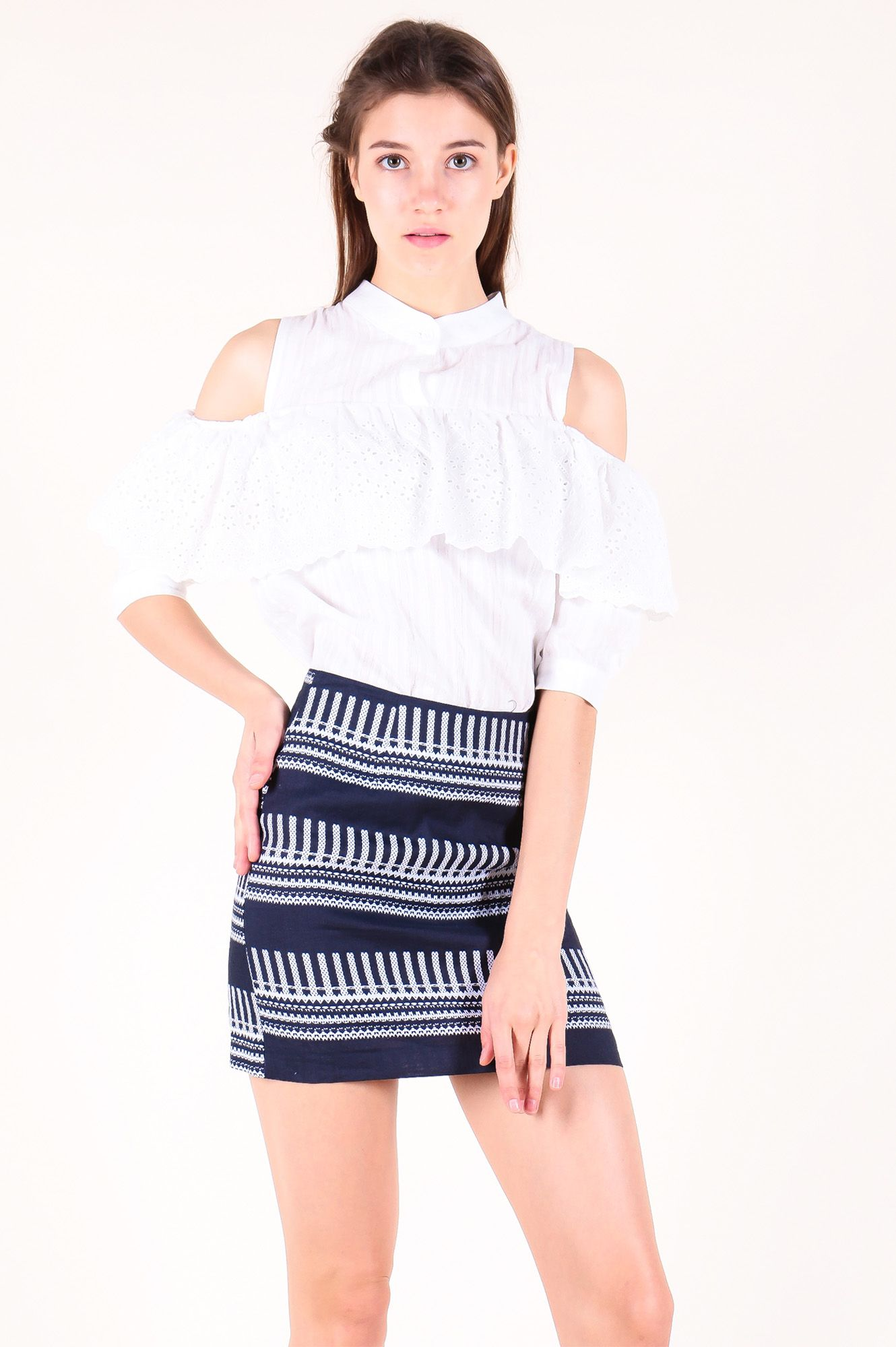 Cut-Out Sleeve Eyelet Panel Top (White) SGD$ 29.00