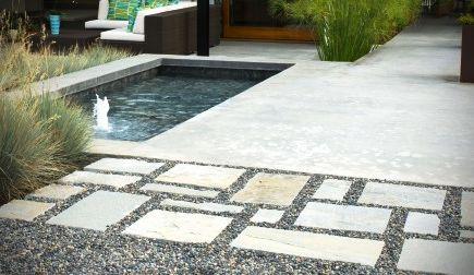 Modern Patio Design Idea With Random Concrete Pattern