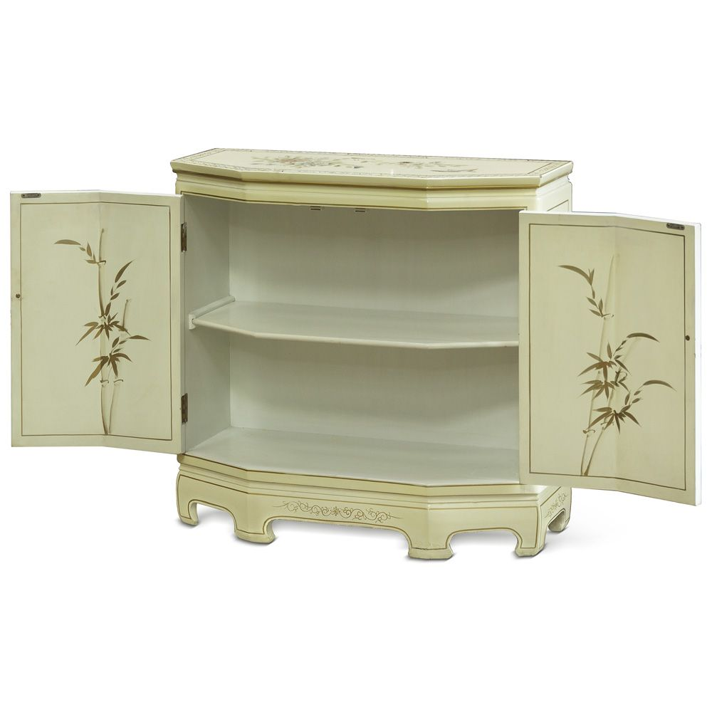 Contemporary hallway furniture  White Lacquer Console Cabinet With Soapstone Motif  Contemporary
