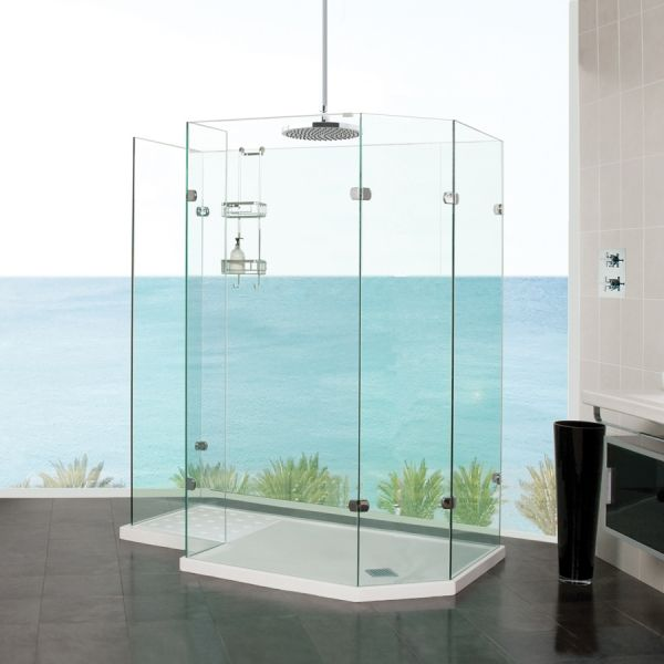 Our Sculptures Freestanding Angled Walk In Shower